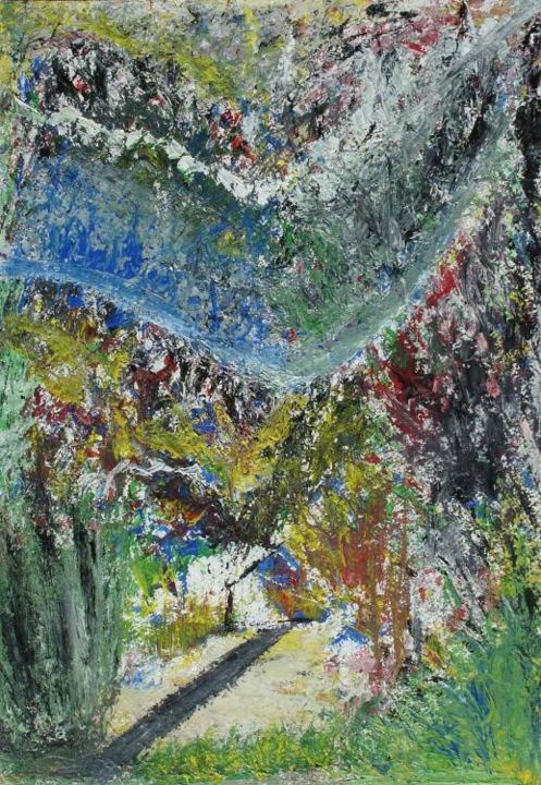 """Painting titled """"Kashmir Valley"""" by Mukul Pipalia, Original Art, Oil"""