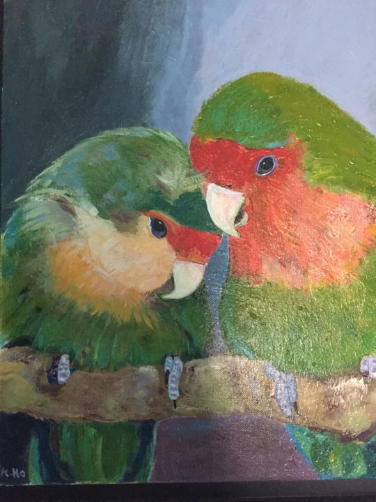 « Babel et Alfie » - Painting ©2017 by Muriel Ho -                                                                                    Figurative Art, Canvas, Love / Romance, Animals, Birds, inseparables, rosecolis, oiseaux, perroquets, amour, couple, muriel ho paintings