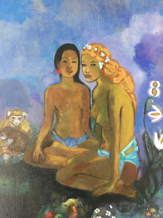 «Deux tahitiennes « - Painting,  41x33 cm ©2017 by Muriel Ho -                                                                                Figurative Art, Naive Art, Animals, Body, Women, animaux, singes, nature, tahitienne, vahine, gauguin, tahiti, marquises