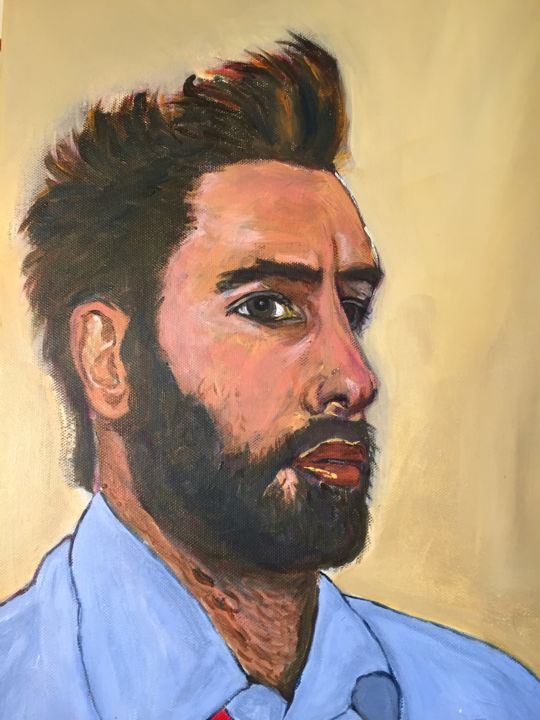 Mister J - Painting ©2019 by Muriel Ho -                                                        Figurative Art, Men, Portraits, homme, portrait, figuratif, beardedman, barbu, jeune, young, sexy