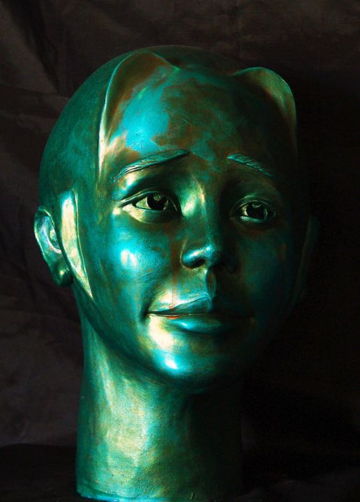 Turquoise - Sculpture,  33x20x25 cm ©2012 by Lumimu -                                                            Figurative Art, Ceramic, Portraits, Clay, figuratif, patine, spirituel, expression, émotion, appel