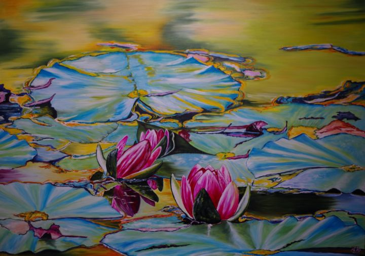 Monet's pond - Painting,  25.2x36.2 in, ©2019 by Muriel Besson-Braem -                                                                                                                                                                                                                          Figurative, figurative-594, Nature, etang Claude Monet .Giverny