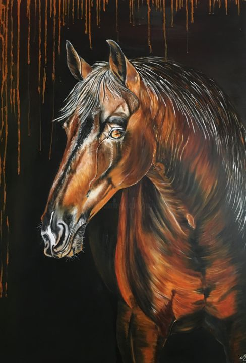Copper - Painting,  47.2x34.7 in, ©2020 by Muriel Besson-Braem -                                                                                                                                                                                                                          Figurative, figurative-594, Animals, cheval monde equestre