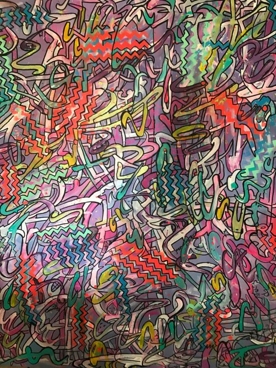 GRAFF - Painting,  39.4x39.4 in, ©2017 by Deumie -                                                                                                                                                                                                                                                                                                                                                                                                                                                  Abstract, abstract-570, toile, graffiti, tag, art urbain, art de rue, décoration, street art