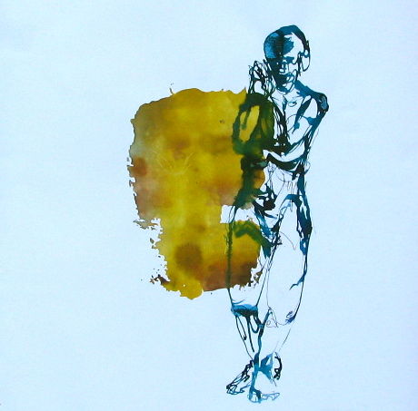 img-5686.jpg - Painting,  15x15 cm ©2013 by stalaven -                            Contemporary painting, calligraphie, nu, mouvement