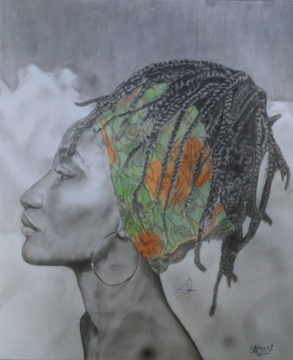 """Drawing titled """"In the clouds"""" by Emmanuel Musa, Original Art, Charcoal"""