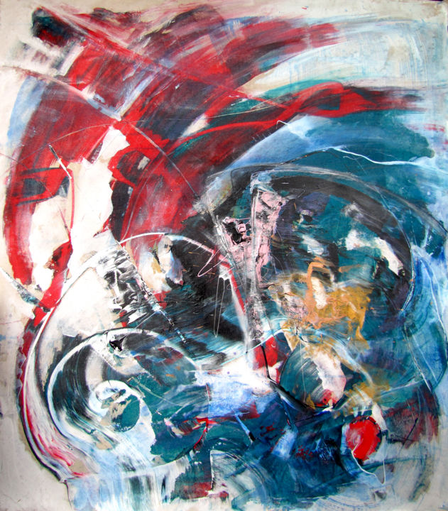 It is Not, Not too Late - Start, original Abstract - Painting,  132x122 cm ©2017 by Dmitri Matkovsky -                                                                        Abstract Art, Abstract Expressionism, Canvas, Abstract Art, buy abstract, original abstract, not too late, auktyon, dmitri matkovsky