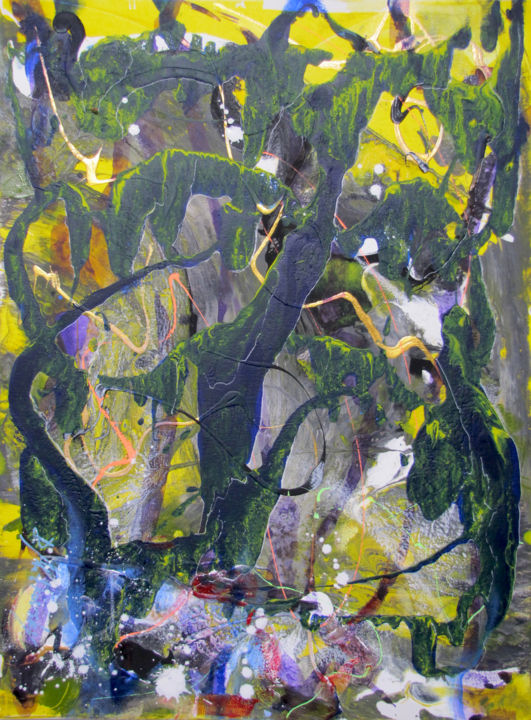 Lewis Carroll forest in Wonderland Abstract - Painting,  61x46 cm ©2018 by Dmitri Matkovsky -                                                                        Abstract Art, Abstract Expressionism, Canvas, Abstract Art, forest in Wonderland, alice in wonderland, painting, abstract