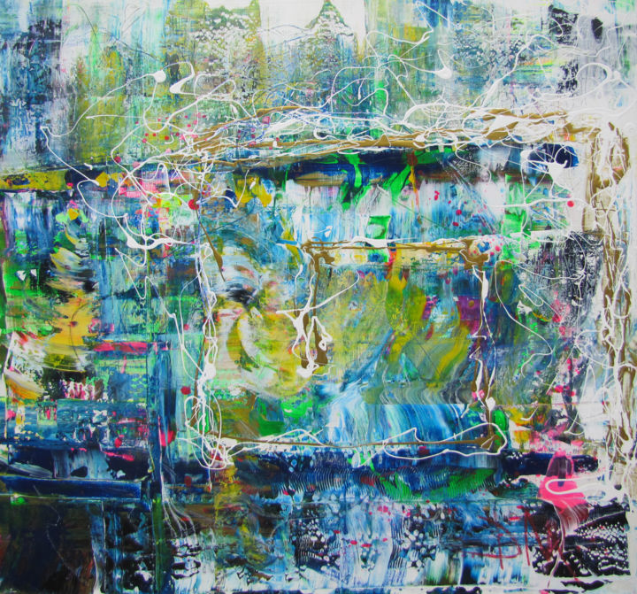 Chaos on the Wet Glass of the Greenhouse, abstract - Painting,  100x100 cm ©2014 by Dmitri Matkovsky -                                                                        Abstract Art, Abstract Expressionism, Canvas, Abstract Art, original abstract, original painting