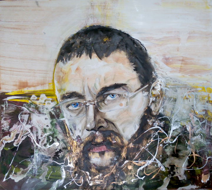 Not Pussy. Mr. Sterligov, contradictory & tough? - Painting,  136x150 cm ©2018 by Kozhina -                                                                                                        Abstract Expressionism, Expressionism, Portraiture, Abstract Art, People, Political figures, Portraits, german sterligov, russian billionair, not pussy