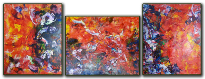 Triptych - Revolution 1, Abstract song by Beatles - Painting,  136x350 cm ©2018 by Kozhina -                                                                                Abstract Art, Abstract Expressionism, Contemporary painting, Expressionism, Abstract Art, red, revolution, abstract, original