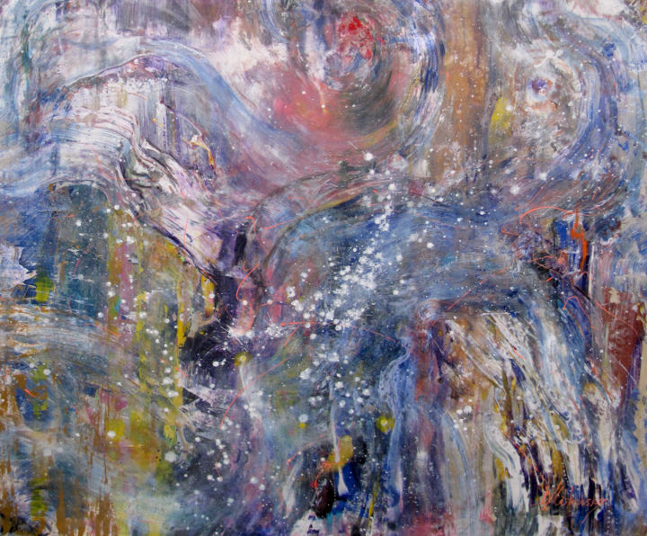 Cosmic Wind on the backyard of the Universe, art - Painting,  122x136 cm ©2018 by Kozhina -                                                                    Abstract Art, Abstract Expressionism, Abstract Art, Outer Space, cosmic abstract, space wind, cosmic wind, universe