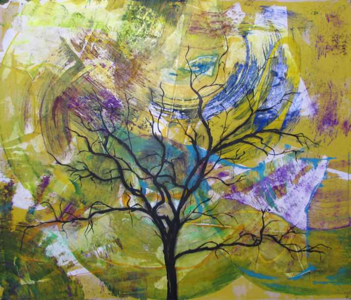 Wish Tree, Original WishTree Abstract Nature - Painting,  122x136 cm ©2019 by Kozhina -                                                                    Abstract Art, Abstract Expressionism, Abstract Art, Landscape, landscape, tree, wishing tree, wishtree, wish tree