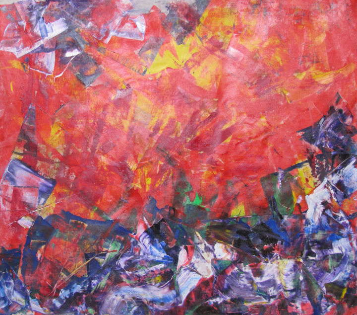 Revolution 1part 2, Abstract song by Beatles, abst - Painting,  112x136 cm ©2018 by Dmitri Matkovsky -                                                        Abstract Art, Abstract Expressionism, Abstract Art, beatles, abstract, red, revolution, song, music
