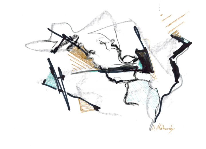 Small Gold Abstract Landscape, color ink & pencil on paper - Painting,  21x29 cm ©2015 by Dmitri Matkovsky -                                                            Abstract Expressionism, Paper, Abstract Art, christmas present, new year present
