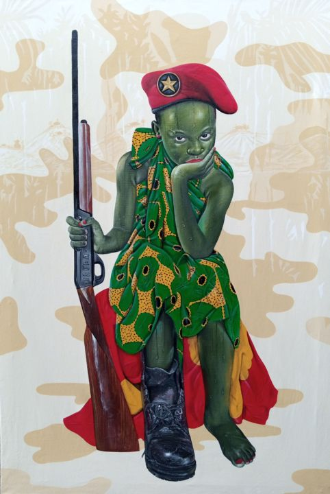 """Painting titled """"Policière militaire…"""" by David Mwayila, Original Art, Oil"""
