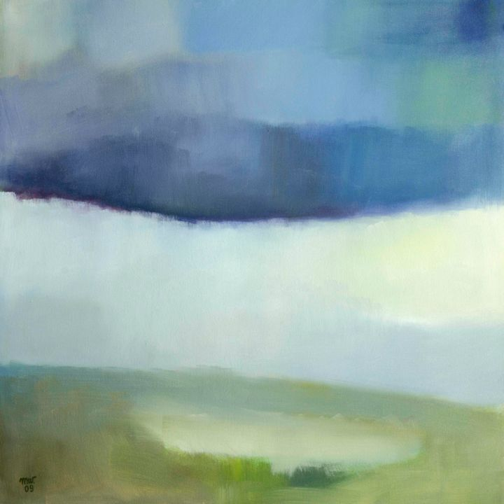 Cloudy afternoon - Painting,  60x60 cm ©2009 by Magdalena Wojciechowska -                                                        Contemporary painting, Canvas, Landscape