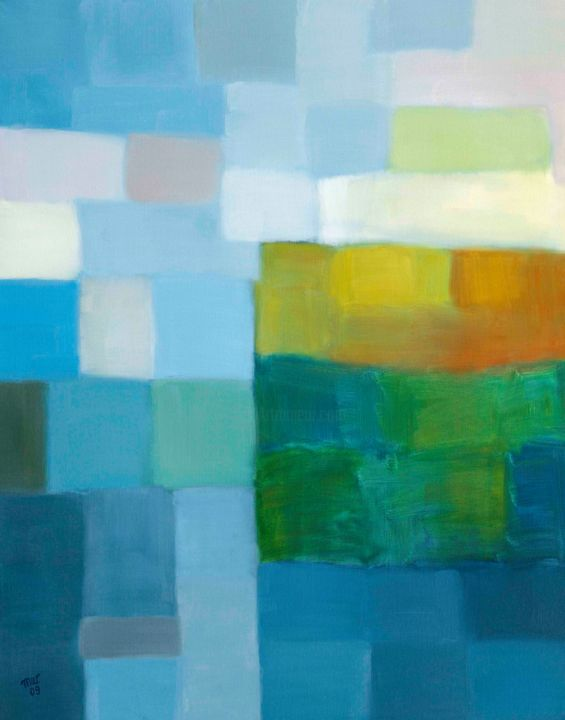 Untitled - Painting,  61x76 cm ©2009 by Magdalena Wojciechowska -                                                        Contemporary painting, Canvas, Landscape