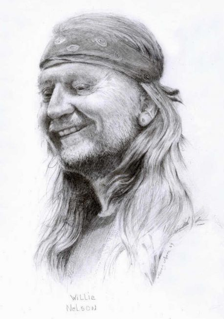 """Drawing titled """"Willie Nelson"""" by Branbuds, Original Art, Other"""