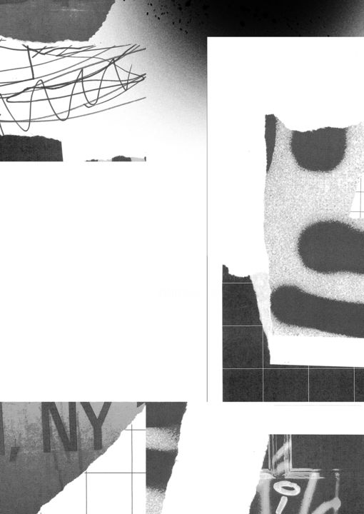 """Collages titled """"New York (1)"""" by Stefan Schuster, Original Art, Paper cutting"""
