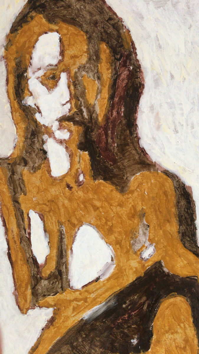 Pose féminine - Painting,  48.5x36 cm ©2018 by Myriam Audran -                                                            Abstract Expressionism, Wood, Body, tempera, expressionnisme, abstrait, bois, corps