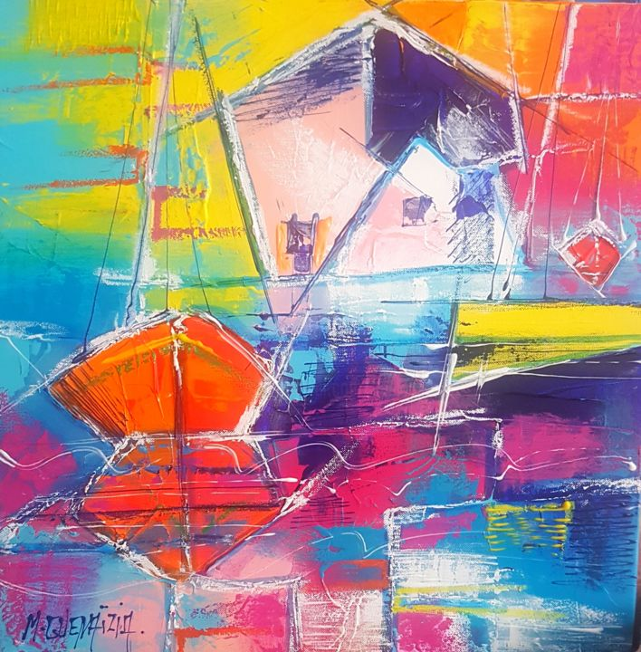 Boat Painting, acrylic, figurative, artwork by Myriam Guenaizia