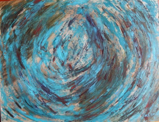 Sphere - Painting,  11.8x15.8 in, ©2012 by Myriam Thomas -                                                                                                                                                      terre, boule, tourbillon...