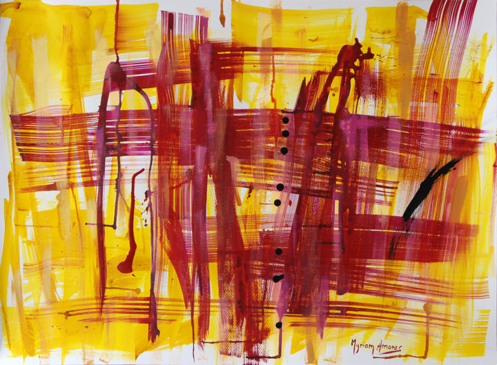 Vers Illiers 2 - Painting,  56x76 cm ©2017 by Myriam Amoros -                                                            Abstract Art, Paper, Abstract Art, Abstraction, Encre