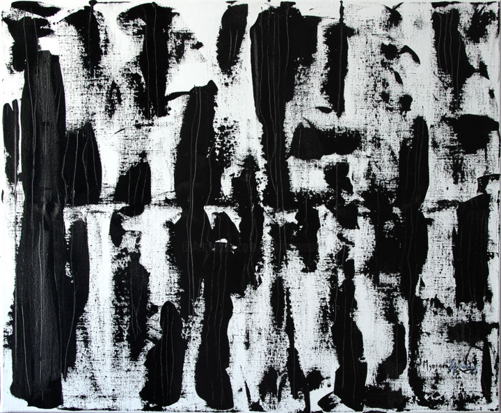 Griffures - Painting,  31.9x39.4 in, ©2018 by Myriam Amoros -                                                                                                                                                                                                                      Abstract, abstract-570, Abstrait, Noir et blanc