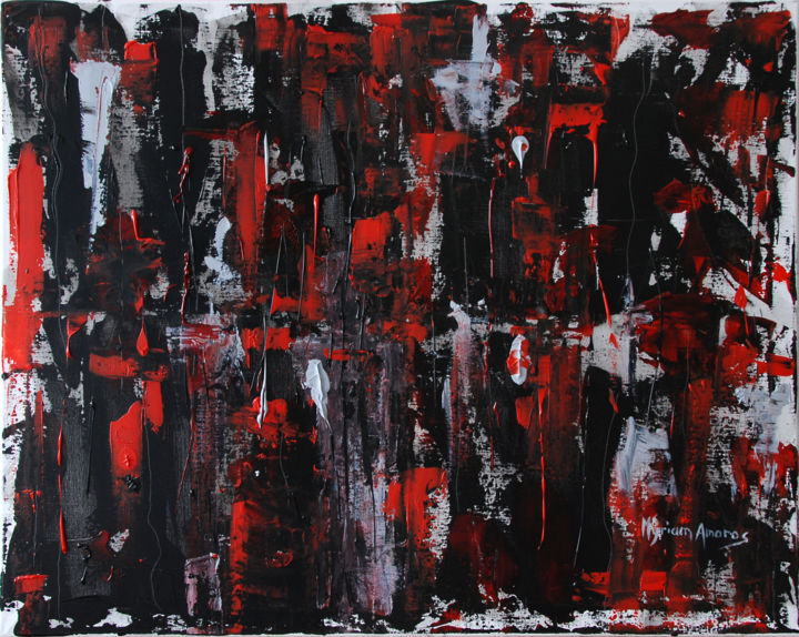 Nuit rouge - Painting,  73x92 cm ©2018 by Myriam Amoros -                                        Abstract Art, Canvas