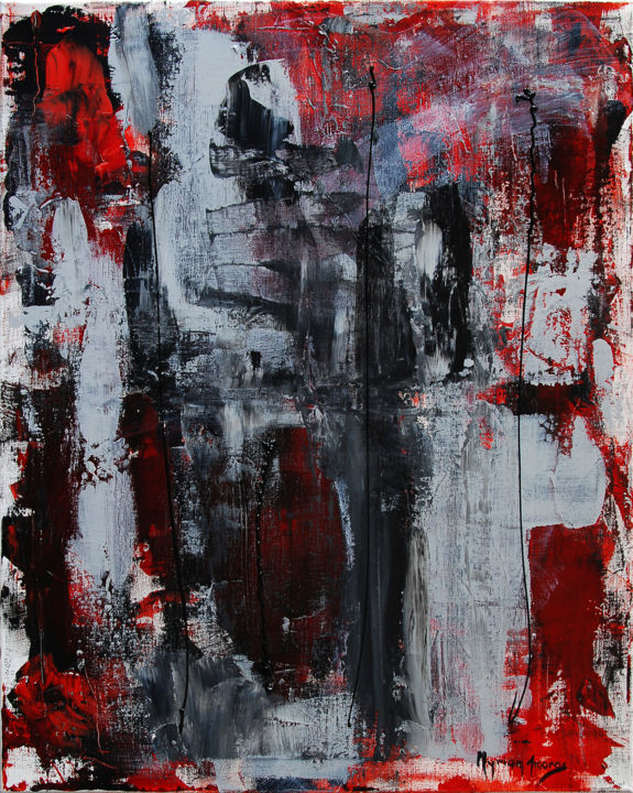 Figures humaines - Painting,  28.7x23.6 in, ©2018 by Myriam Amoros -                                                                                                                          Abstract, abstract-570