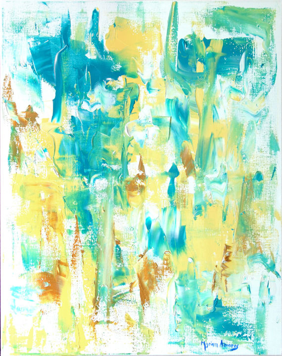 Guardamar 1 - a - Painting,  36.2x28.7 in, ©2018 by Myriam Amoros -                                                                                                                                                                          Abstract, abstract-570, Light