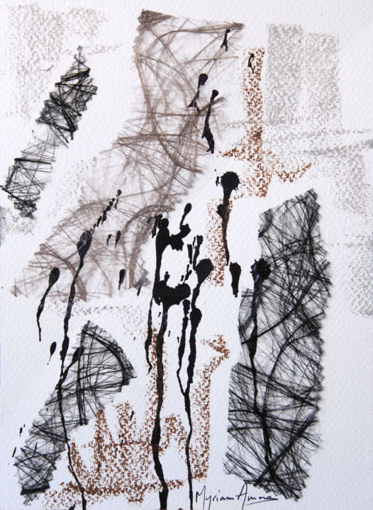 Foule - Painting,  9.5x7.1 in, ©2016 by Myriam Amoros -                                                                                                                                                                                                                                                                                                                                                                                                                                                                                                  Abstract, abstract-570, Abstract Art, Women, Men, Art abstrait, Encre de Chine, Fibres, Pastel, Média mixtes