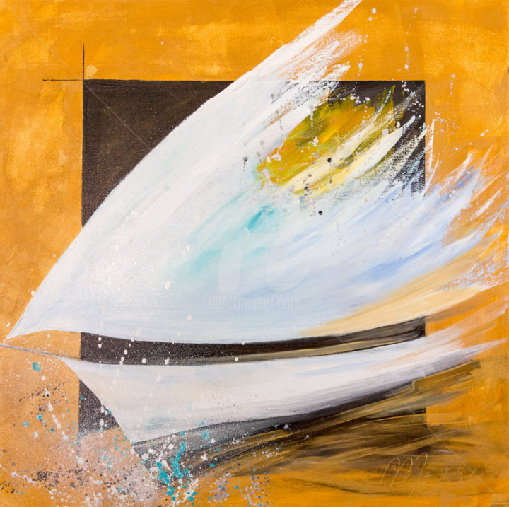 SPEED - Painting,  60x60 cm ©2014 by Mori -                                                            Contemporary painting, Canvas, Sailboat, bateau, voile