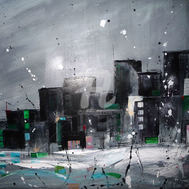 ny.jpg - Painting,  80x80 cm ©2016 by Mori -                                                            Contemporary painting, Canvas, Cities, projections