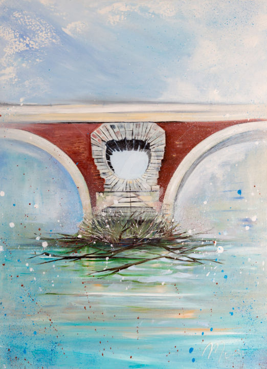 Pont9 - Painting,  27.6x19.7 in, ©2015 by Mori -