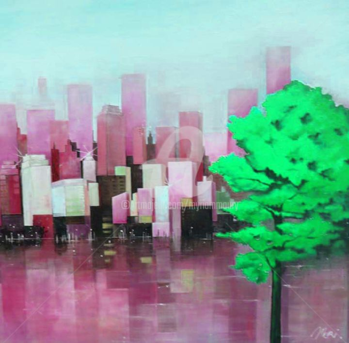 two-pink.jpg - Painting ©2015 by Mori -