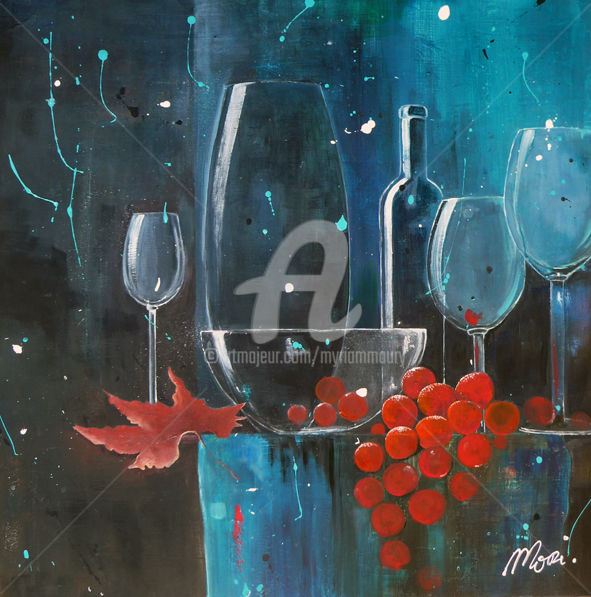 festif.jpg - Peinture,  60x60 cm ©2015 par Mori -                                            Art abstrait, Nature morte, transparences