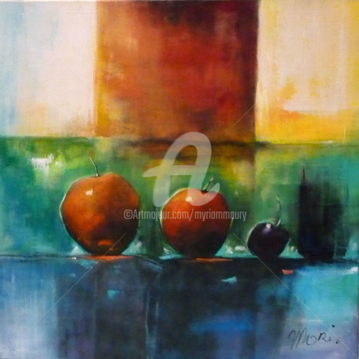 CompositionApples - Painting,  60x60 cm ©2016 by Mori -                                                            Contemporary painting, Canvas, Still life, pommes, fruits, couleurs