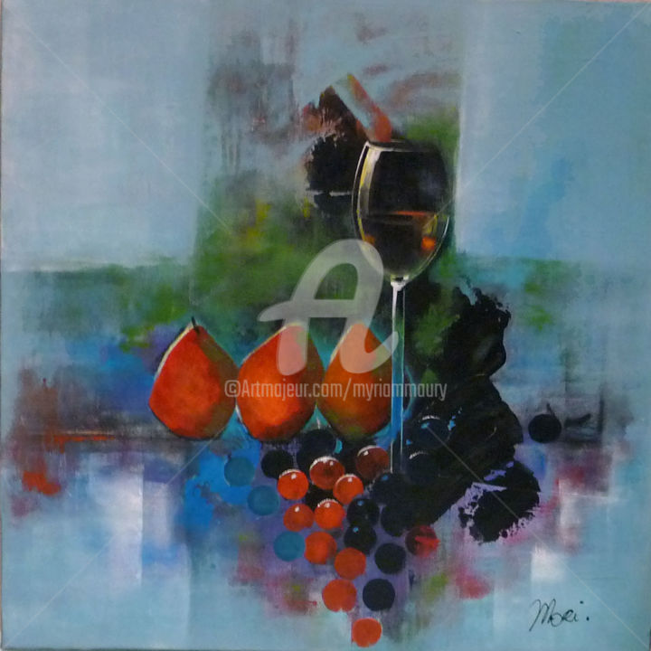 Composition Délices de Poires - Painting,  60x60 cm ©2017 by Mori -                                        Contemporary painting, Canvas