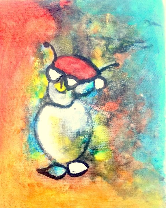 bonhomme lunettes - Painting,  10.5x8.5x0.4 in, ©2020 by Mysane -                                                                                                                                                                          Abstract, abstract-570, Humor