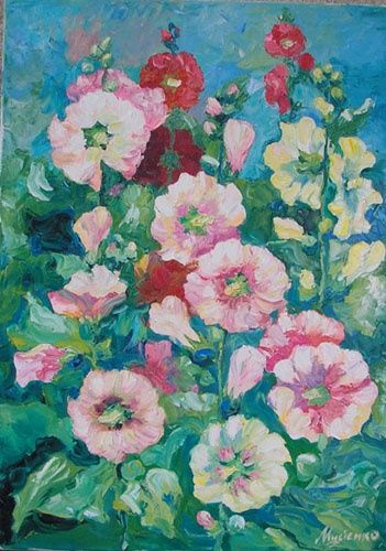 Мальвы - Painting,  50x65 cm ©2012 by Ирина Мусиенко -                            Realism, bouquet from mallows, summer