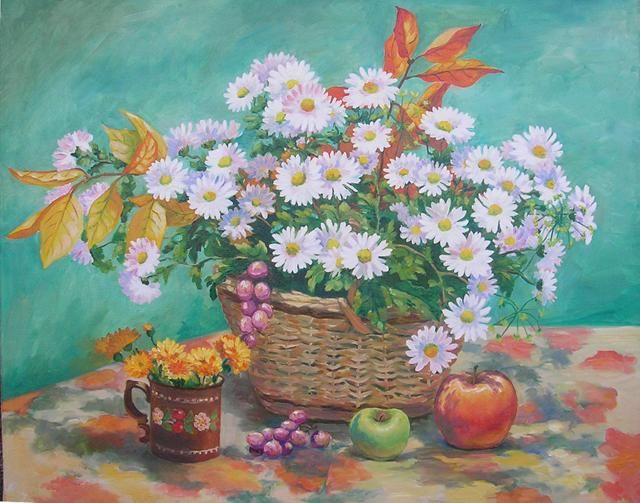 last flowers.November - Painting,  65x75 cm ©2012 by Ирина Мусиенко -                            Realism, last flowers.November.chrysanthemums