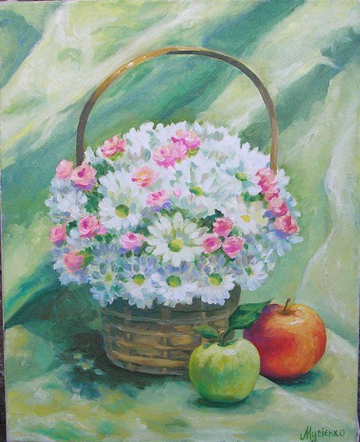 Ромашки - Painting,  40x50 cm ©2012 by Ирина Мусиенко -                            Realism, flowers in a basket with apples