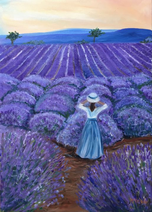 """Painting titled """"June afternoon"""" by Nelli Vekszler, Original Art, Oil Mounted on Stretcher frame"""