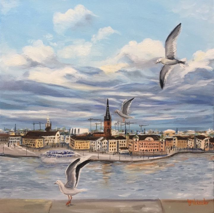 """Painting titled """"Stockholm"""" by Nelli Vekszler, Original Art, Oil Mounted on Stretcher frame"""