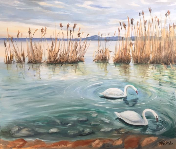 """Painting titled """"Lake Balaton"""" by Nelli Vekszler, Original Art, Oil Mounted on Stretcher frame"""