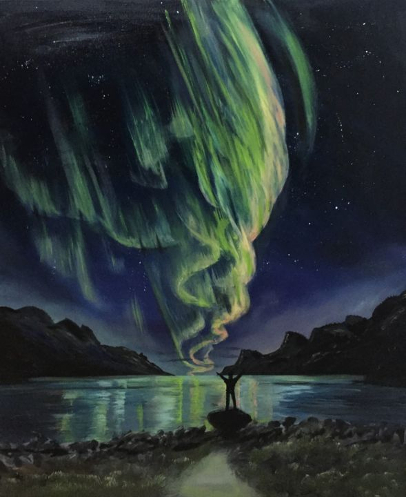 """Painting titled """"Northern lights"""" by Nelli Vekszler, Original Art, Oil Mounted on Stretcher frame"""