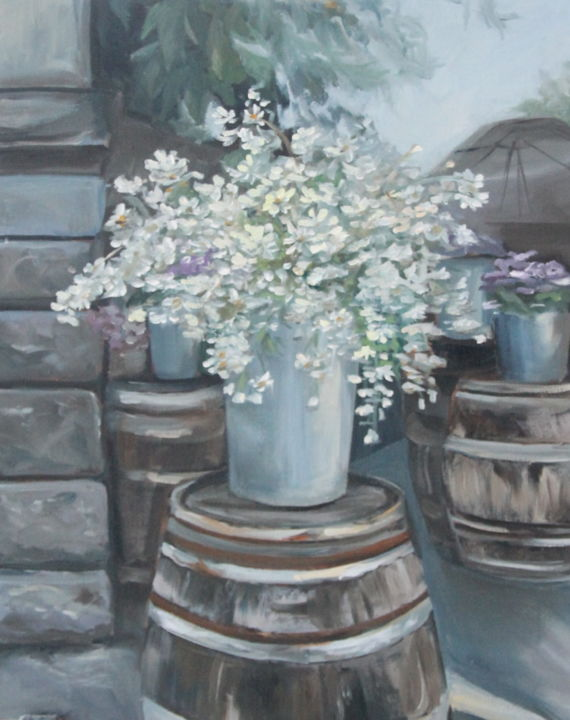 flower shop - Painting,  19.7x15.8x0.8 in, ©2019 by Anastasia K -                                                                                                                                                                                                                                                                                                                                                                                                                                                                                                                                                                                                                                                                                                                                                                                                                                                                                                                                                                                                                                                                                                                                          Classicism, classicism-933, Architecture, Cities, Cityscape, Family, Flower, daisies, flowers, flower shop, city, cityscape, antique, Georgia, europe, street, barrel, stone, stone wall, wall, Tbilisi, bouquet, present, gift
