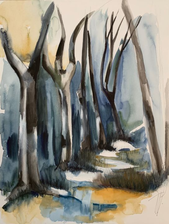 Sous bois - Painting,  25.6x19.7 in, ©2019 by Naalya -                                                                                                                                                                          Figurative, figurative-594, Nature